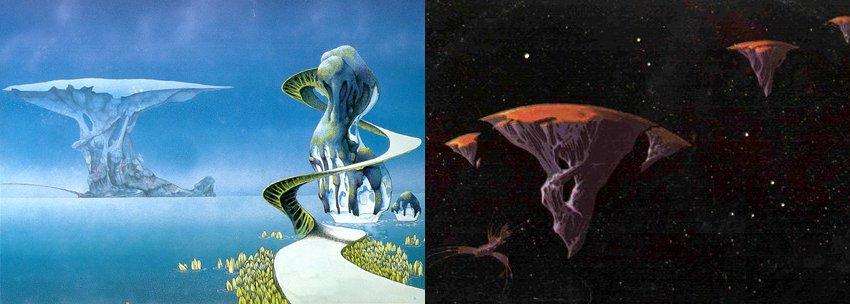 Les différentes illustrations de Roger Dean pour Yes semblent retracer l'histoire d'une planète imaginaire, de sa période de luxuriance jusqu'à son atomisation (images extraites de l'album Yessongs de 1973)
