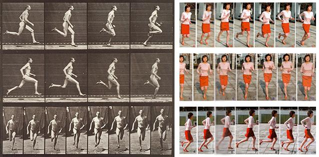 Une chronophotographie de Muybridge et un extrait de Action Pose Collection vol. 2